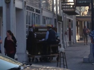 A mobile piano player entertained the historic district each night