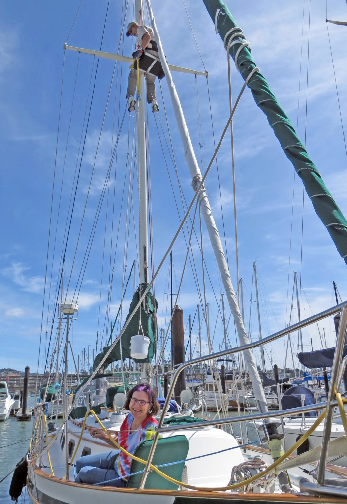 Rick up the mast for the steaming light. Cindy is safety!