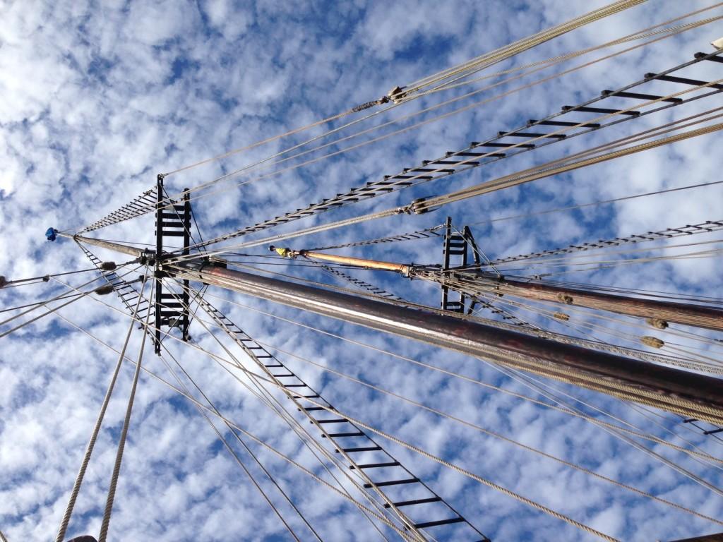 The tall ship schooner Pilgrim's masts, in  San Diego