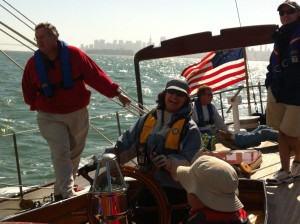 Cindy at the helm of Pursuit
