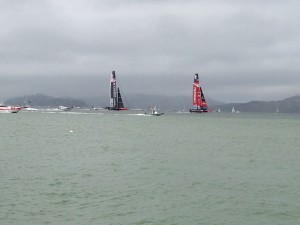 Team Oracle USA and Team Emerites New Zealand, racing by us while we watched from the shore.