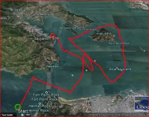Partial Track of Pursuit: 18.9 nm, 8 hours, max speed 9.9 knots