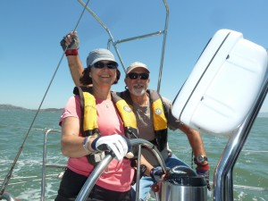 Cindy and Rick at the helm in San Francisco Bay