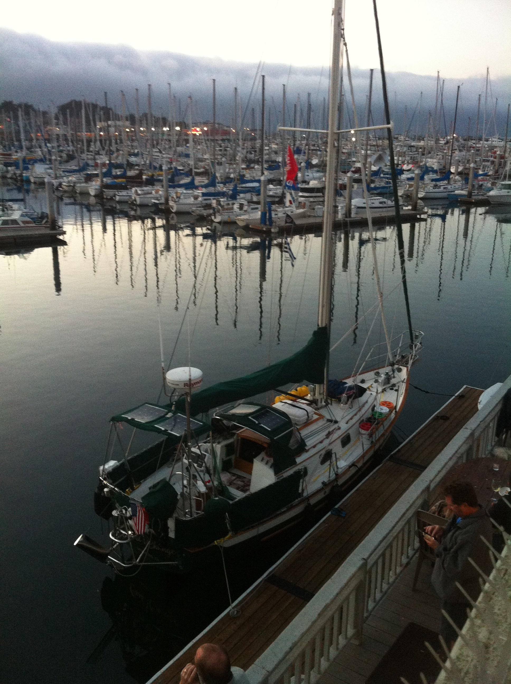 Cool Change looking hot at the Monterey Yacht Club/Monterey Harbor. Lots of club members asked tons of questions about our beauty. Rick was like a proud father, showing her off.