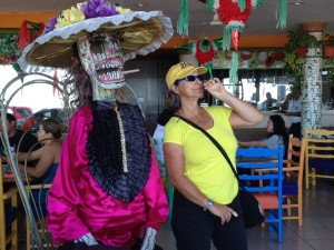 A remnant of Dia De Los Muertos in a local restaurant, with two smokin' hot babes!