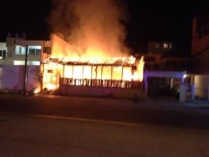 La Bartola Restaurant and Salsa Venue, on fire
