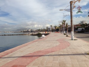 The Malecon, a lovely broad walkway along the waterfront, looking East