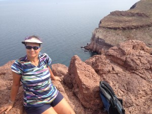 Cindy at the top of the hike, overlooking the Sea of Cortez looking west