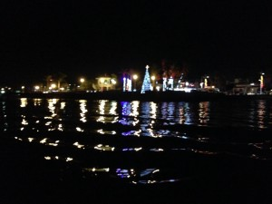 Christmas decorations on The Malecon at night, as seen from our dinghy