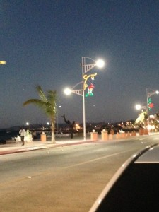 Christmas decorations adorn the Malecon
