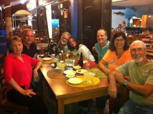 One of our many dinner outs with our Sacramento salsa/rueda gang; Diana, Don, David, Cherie, Derek, and Rick and me