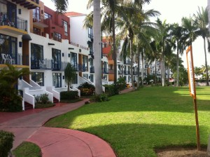 The well-manicured hotel grounds