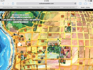 A map of the First Friday Art Walk - very chic and contemporary; the neighborhood reminds me of a Mexican version of the near-north side of Chicago: elegant homes, narrow cobblestone streets, fancy restaurants hidden inside of gardens