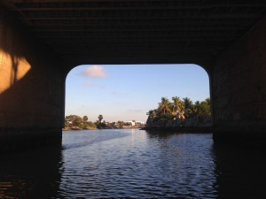Heading under a bridge to get to the canals