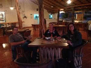Dan, Deanna and Cindy at the palapa restaurant at Los Muertos