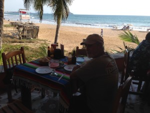 Rick at the Bruja Restaurant waiting for our fish tacos to celebrate our long hike