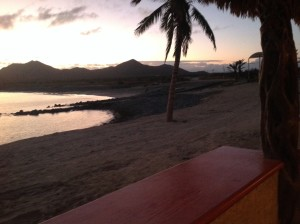 View from the Muertos palapa restaurant