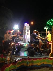 The crews of Shindig, Cool Change and Agave Azul riding a carnival ride set up for the activities of Semana Santa in the village of La Cruz.  Well, we are not really riding because we were told it was for kinds only but they let us take a picture anyway!