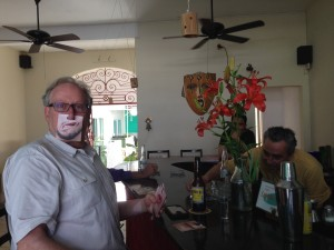 Another customer and the proprietor at the San Blas Social Club