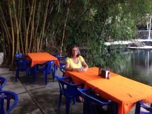 We had a late breakfast at a jungle restaurant next to a crocodile hatchery.