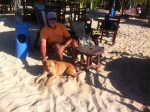 Rick and one of his favorite new friends on the beach