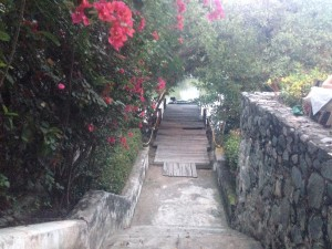 This ramp leads down to the small dock we found alongside a canal, and leads up to a cute little romantic restaurant called Fajita Republic.  Yes, a little Gringo, but that is what you find in Nuevo Vallarta.  Not many people arrive by dinghy, though!