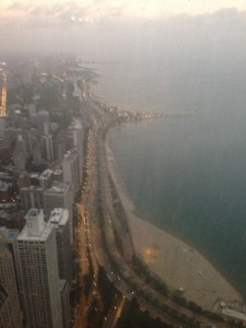 Looking North onto Lake Shore Drive and Lake Michigan from the top of the Hancock - Kim and Pete's place is somewhere down there only a few blocks from the Hancock