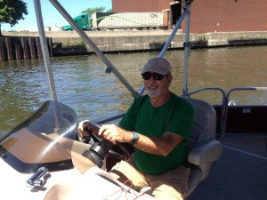 Rick drove the pontoon boat for a sister reunion tour of the Chicago River downtown