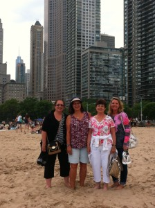 Kim, Cindy, Bonnie and Bonnie's daughter Laurie on the beach off Lake Shore Drive