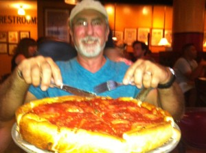 Rick having Chicago style deep dish pizza.