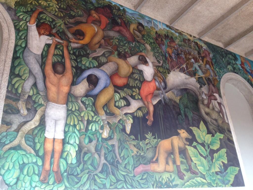 Part of the Diego Rivera mural inside the Palacio de Cortez in Cuernavaca