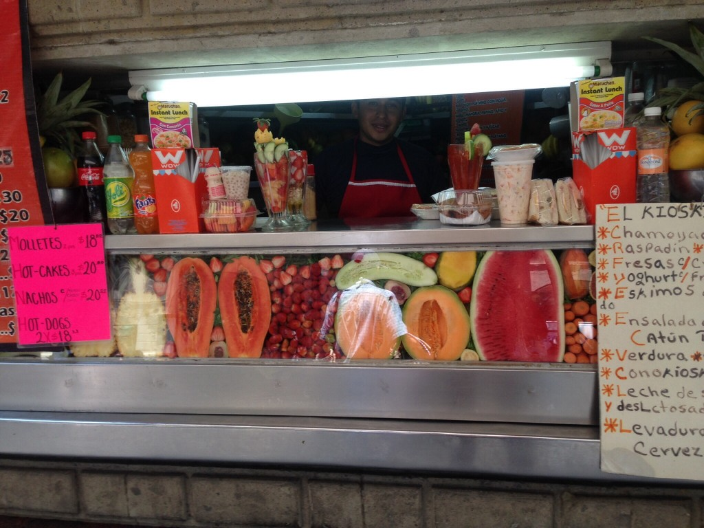 Fruit stands under the gazebo in the Zocolo, making smoothies well before there was such a word
