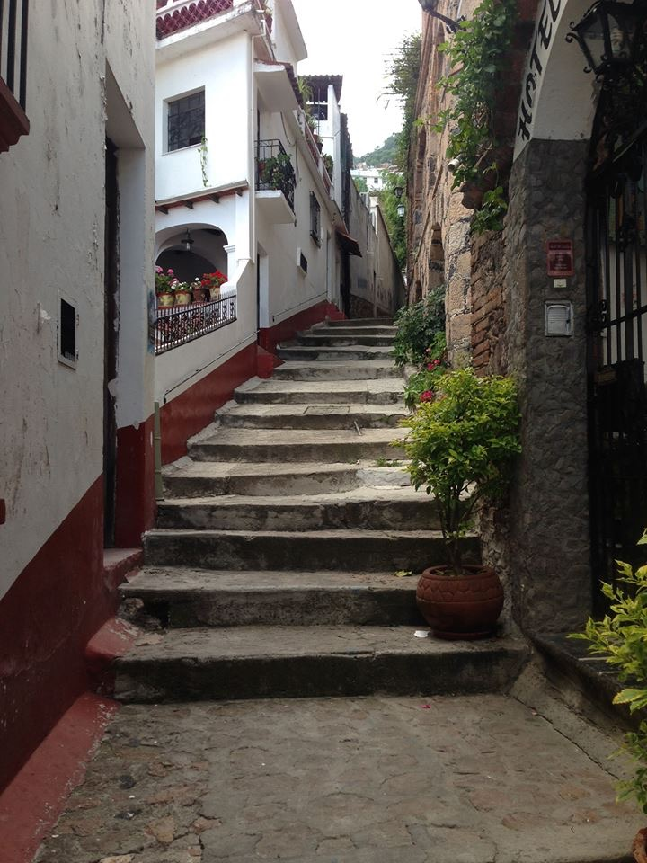 One of many stairways leading up the hills of Taxco. This one was right outside our B&B.
