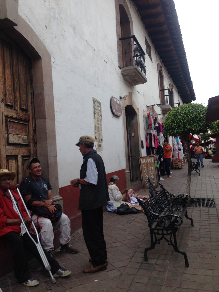 The street scene around the entrance to our hotel