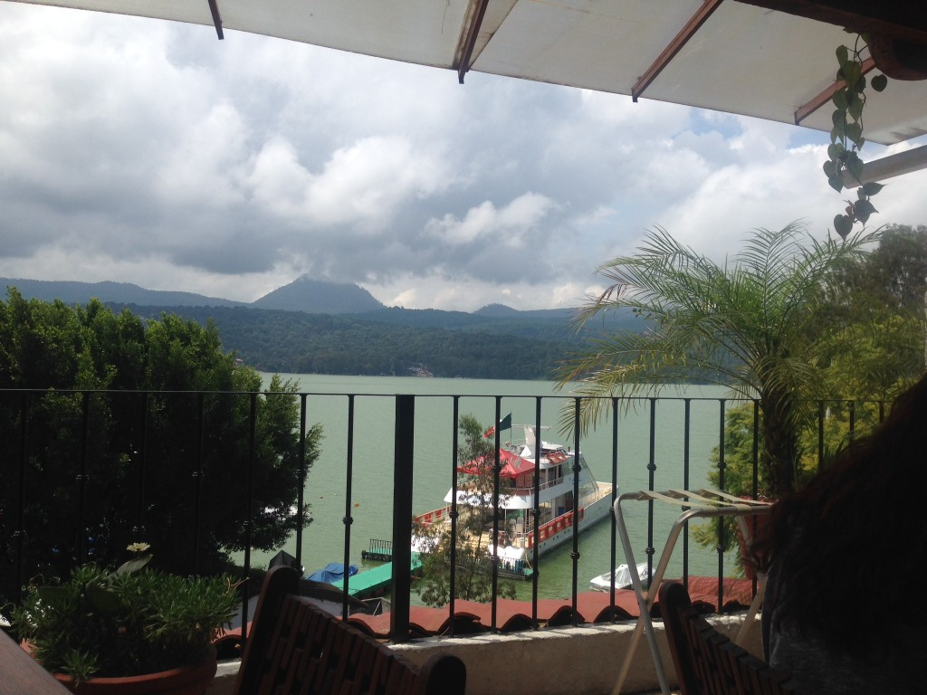 The view from El Paraiso, our favorite restaurant.  It was cloudy and rainy most of our time in Valle de Bravo, but no matter.  It was actually a refreshes hung change from the sunny coast