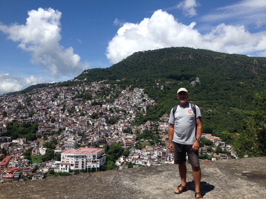 Rick on the precipice, overlooking Taxco, at a place we were taken by our guide