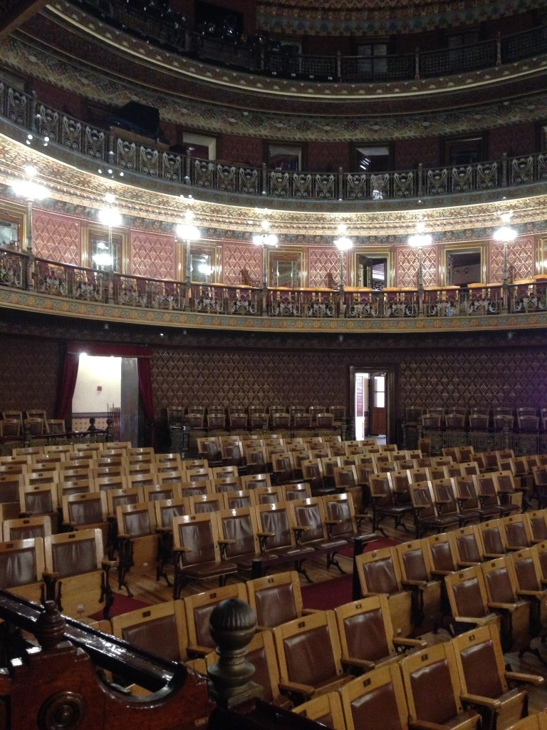 Inside the Teatro Juárez, on the main square in Guanajuato.  This opulent building was constructed by Mexico's last dictator, Portfirio Díaz, before the 1910 Mexican Revolution