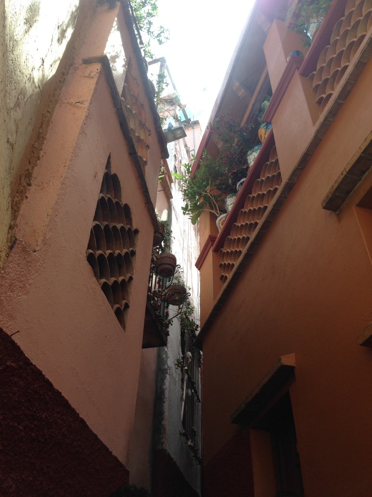 So, these two balconies can be seen by looking up from the narrow walkway called Callejon del Beso.  Legend has it that Carmen and Luis were secret lovers, and that Luis rented the house on the right with the flowered balcony so he could kiss his love, Carmen, across to the wrought iron flowered balcony on the left.  But upon discovering the two embraced across the balconies, Carmen's jealous father stabbed Carmen in a rage.  Luis continued the kiss until her lips went cold. A Mexican Romeo and Juliet, made all the more believable because there are so many such Callejónes all over Guanajuato.