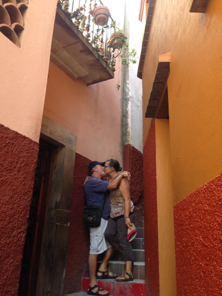 So we had to reenact the famous kiss below the very balconies where it happened
