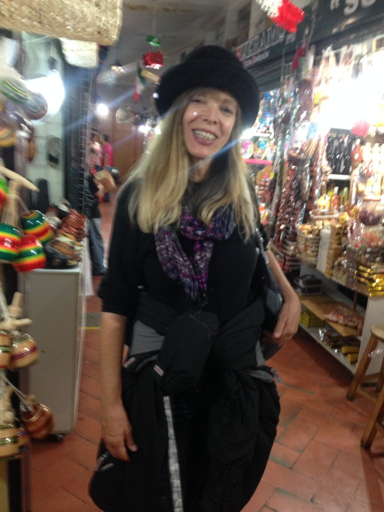 Bev shopping for travel gifts in Morelia