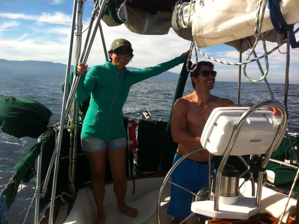 Sailing back from Yelapa to La Cruz, Dan steered most of the way while Sara kept her eyes on the horizon