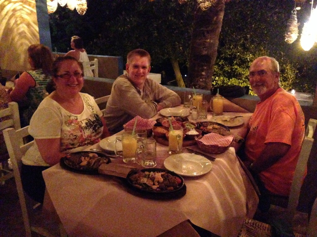 The first night of their visit, we transported Kim and Bob in dinghys down to the Fajita Republic restaurant on the canal to enjoy some of the best mango margaritas around