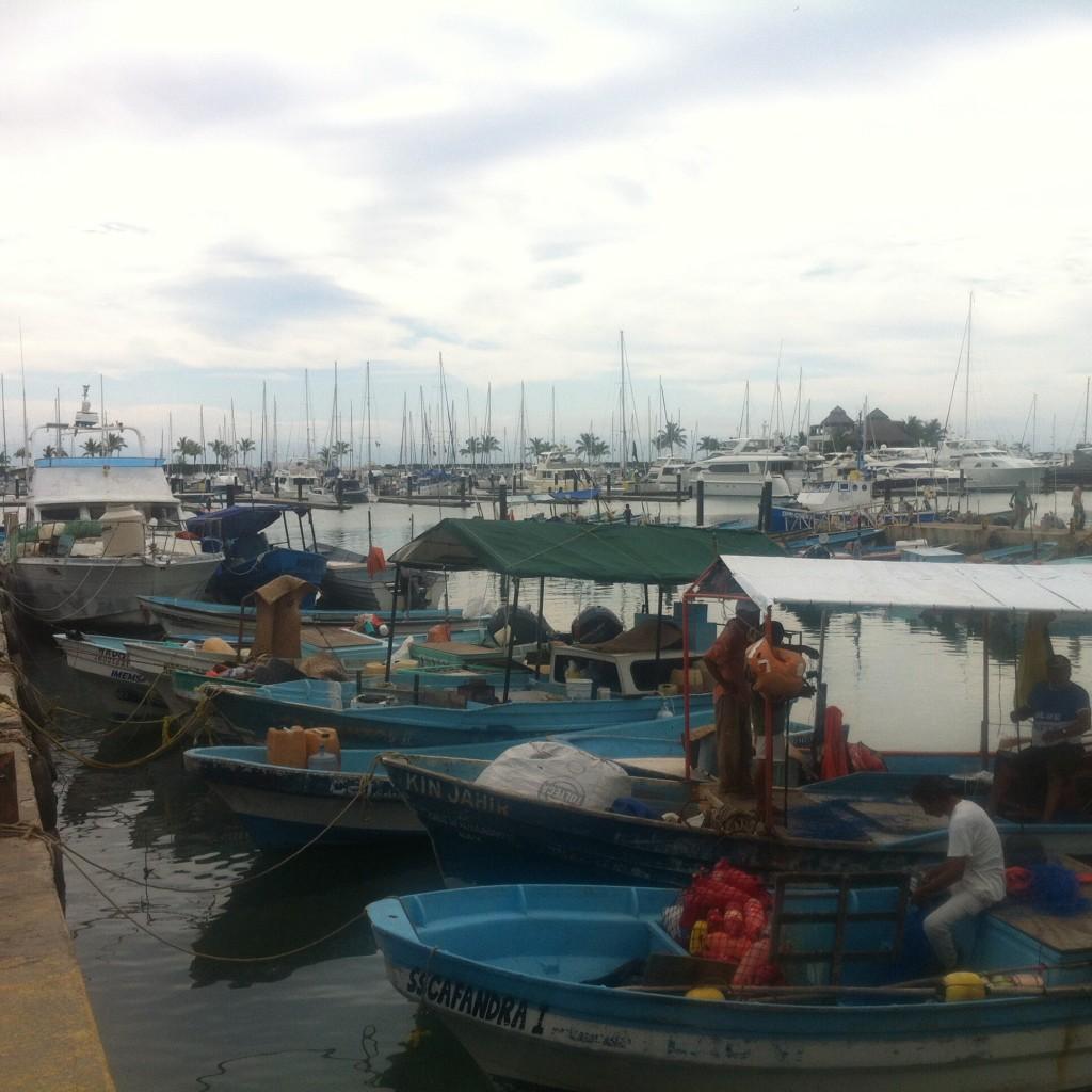 The fishing fleet outisde the fish market at La Cruz.  Fresh fish daily, 365 days per year.