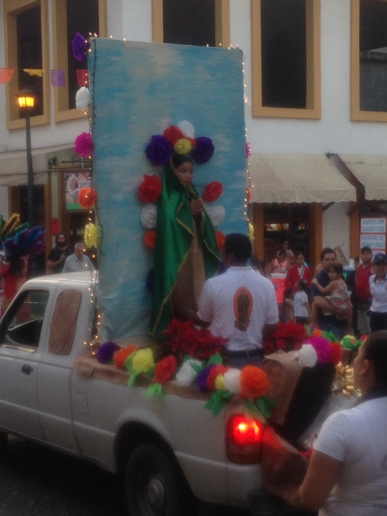 While downtown, all of a sudden we found ourselves at the front of a parade! All week, the Church of the Virgin of Guadalupe was accepting parading visitors from all over the area, who were paying tribute to the Virgin in honor of her day on December 12.  This is a really big celebration in Mexico.