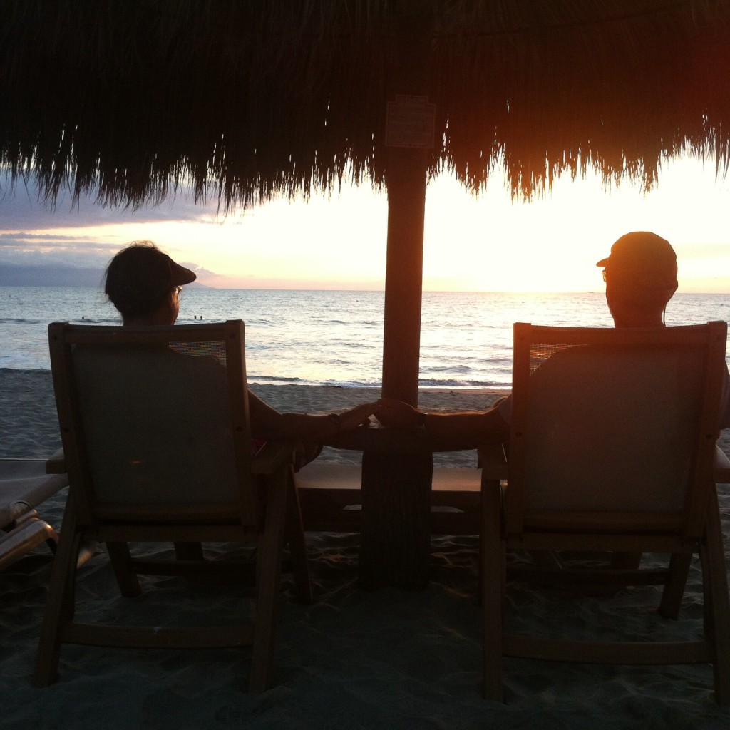 Enjoying one of our last sunsets alone together on Paradise Beach for a while