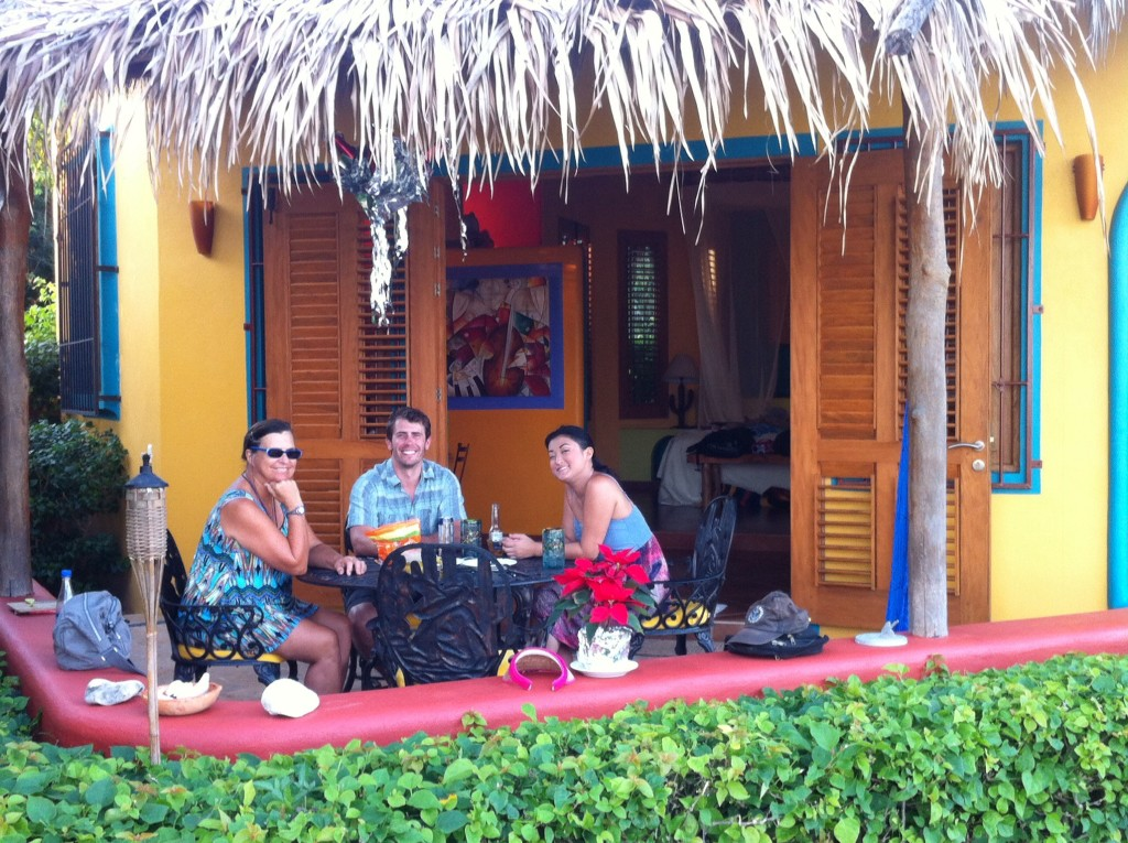 Enjoying the outdoor patio at their new digs in La Cruz, a beachfront bungalow called Simply Bacu