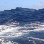 What 8-foot seas look like - you can't see the sea over the wave when you are in the trough