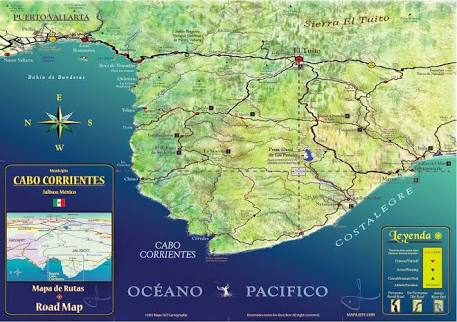 A close up of Cabo Corrientes. They say to keep at least 5 miles off the coast because of the violent changes in currents that occurs because of the land mass changes