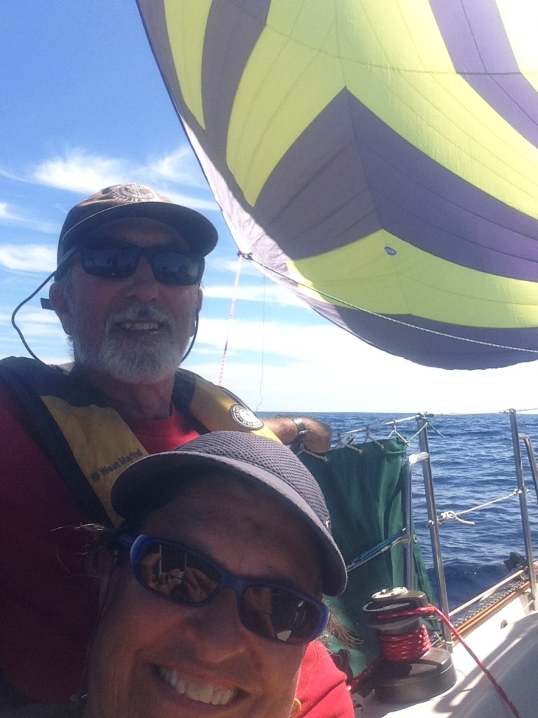 Flying our beautiful new spinnaker for the first time