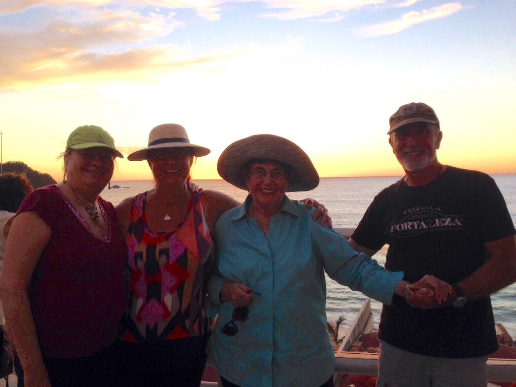 Elizabeth, Cindy, Mom and Rick at the best sunset cocktails view in Barra.